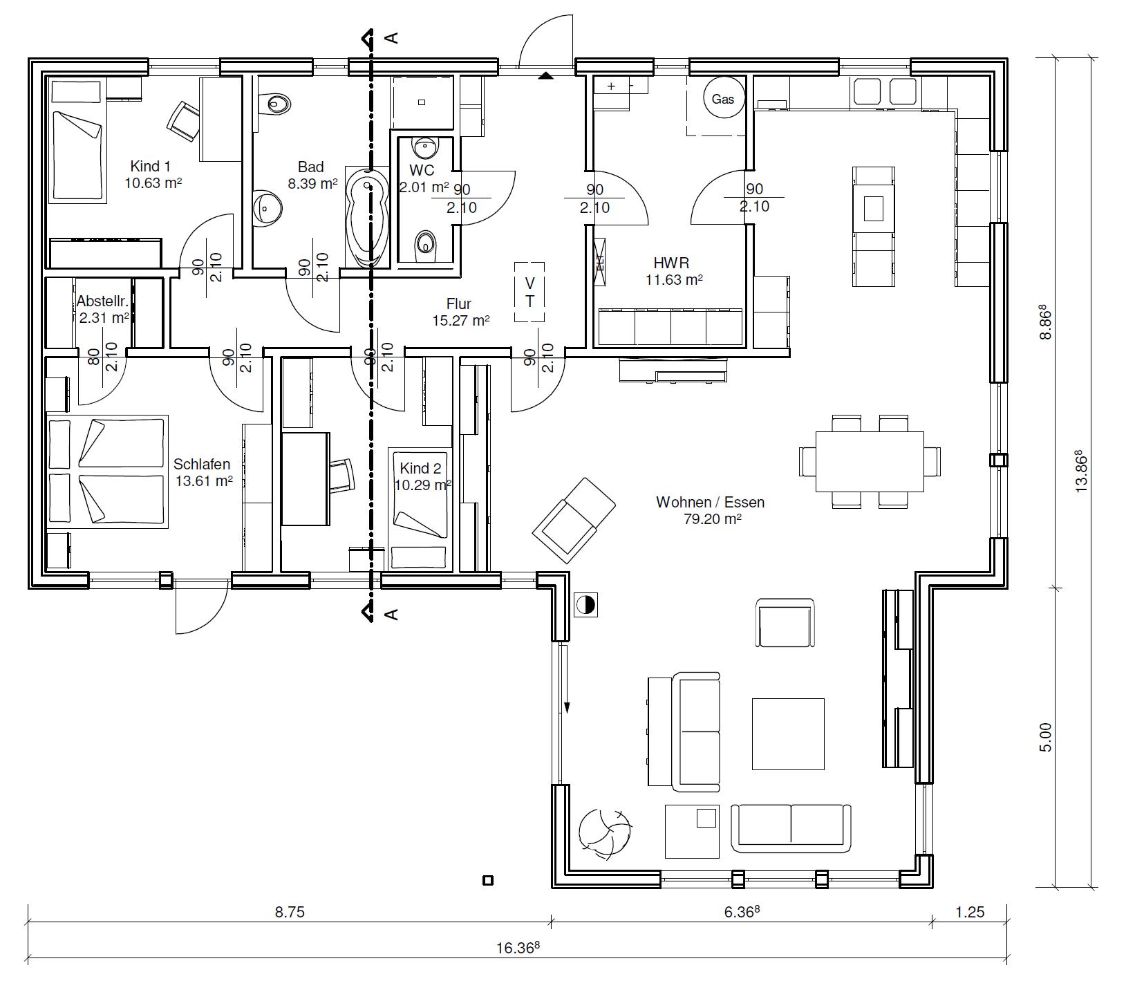 holzhaus bungalow eingeschossige schwedenhaus residenz. Black Bedroom Furniture Sets. Home Design Ideas